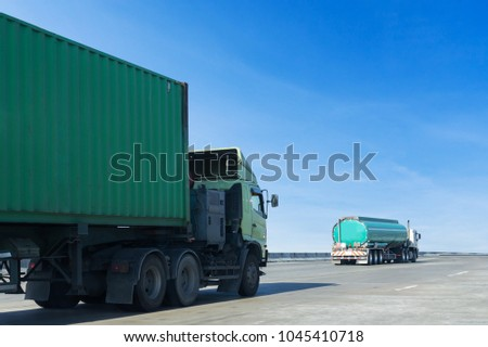Green gas Truck on highway road with container, transportation concept.,import,export logistic industrial Transporting Land transport on the asphalt expressway with blue sky #1045410718