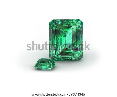Green gemstone on white background. Emerald,