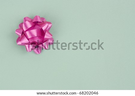 Green Gift Box With A Bow - stock photo