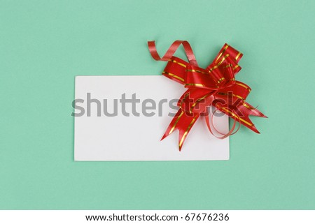 Green Gift Box With A Bow and card
