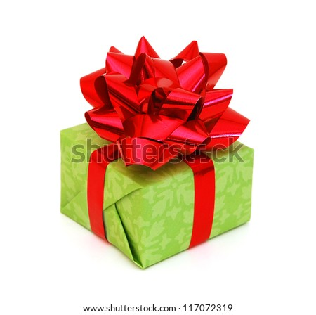 Green gift box with ribbon and bow isolated on the white background, clipping path included