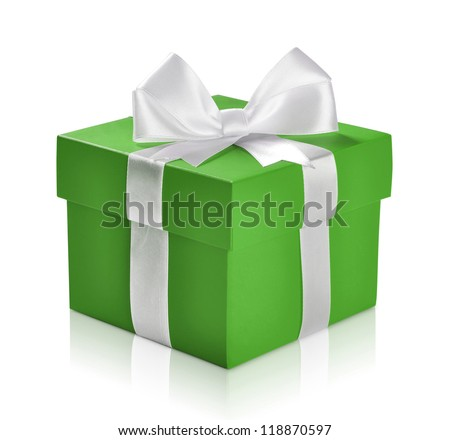 Green gift box with white ribbon isolated on white background. Clipping path included.