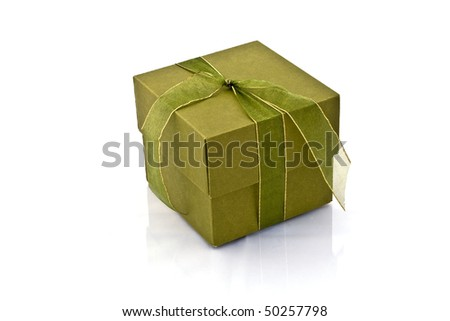 Green gift in white background