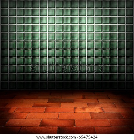 green glass block wall and red brick floor background