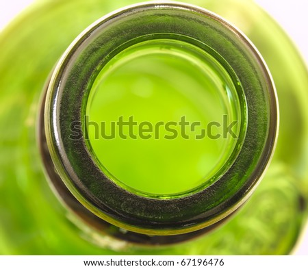 green glass bottle, top view