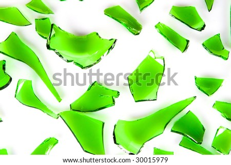 green glass broken into slices