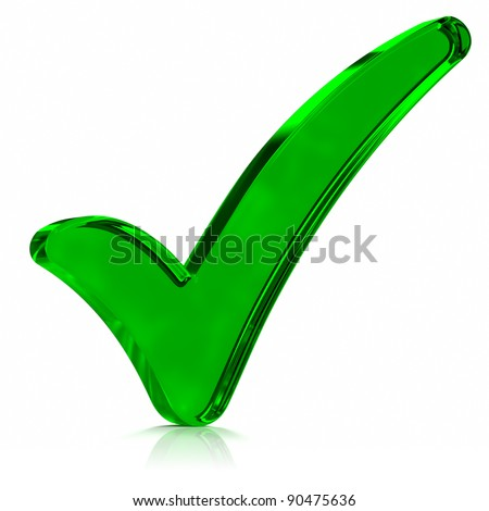 Green glass check mark symbol. Part of a series.