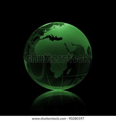 Green Glass globe on a black background