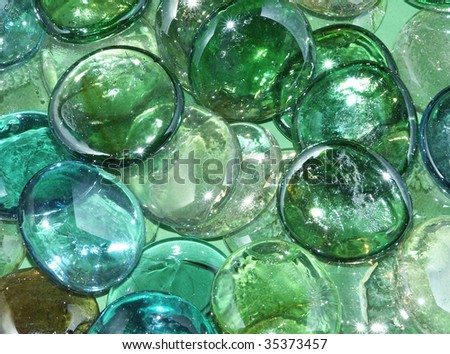 Green glass marbles
