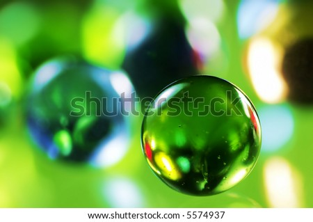 Green glass spheres