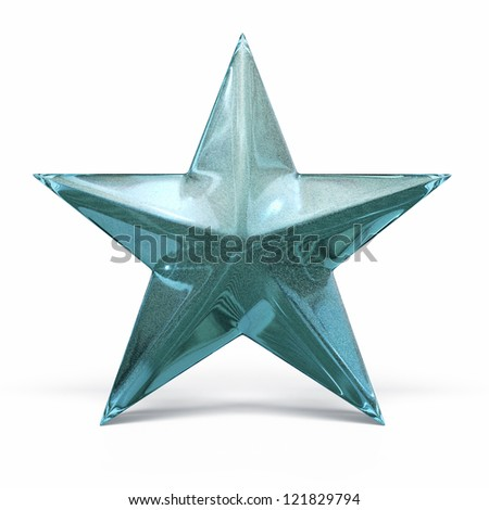 Green Glass Star render (isolated on white and clipping path)