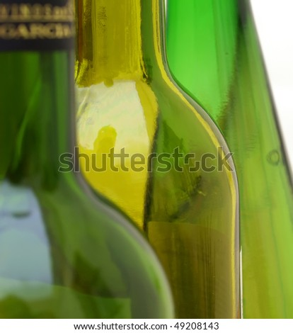green glass wine bottle composition