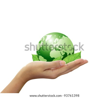 Green global and leaf in hand - stock photo