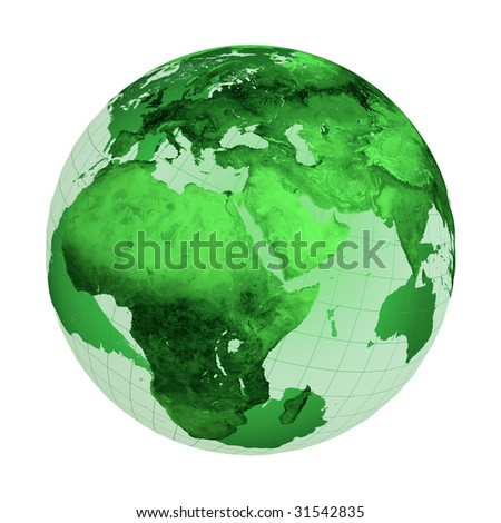 Green globe illustration isolated on white background