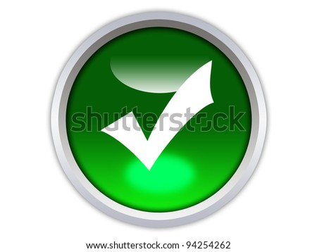green glossy button with white checkmark icon isolated over white background