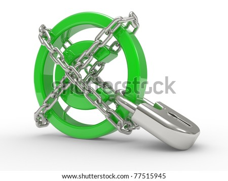 green glossy copyright sign and chains  on a white background