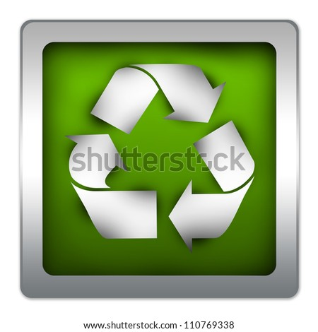 Green Glossy Icon With Recycle Sign for Save The Earth Concept Isolated on White Background
