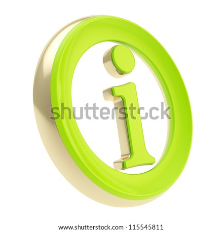Green glossy info I letter in a golden circle as information emblem icon isolated on white