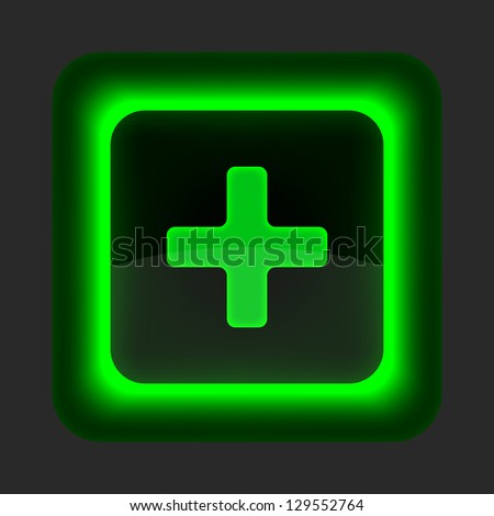 Green glossy web button with addition sign. Rounded square shape icon on gray background. 10 eps