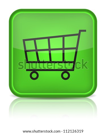 Green glossy web button with shopping cart sign. Rounded square shape icon on white background. (Raster version)