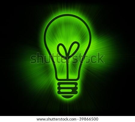 Green glowing neon light bulb - stock photo