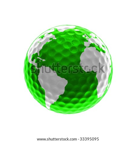 Green golf-ball with Africa, America and Europe isolated on white