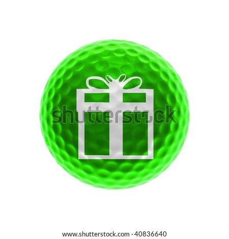 Green golf ball with gift box