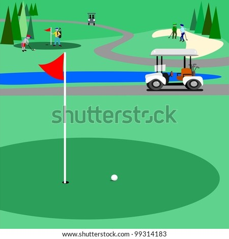 Green golf course.  Illustration of a golf course with people golfing and enjoying the game. There is a trail for the golf carts to use.