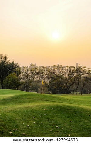 Green Golf sunset