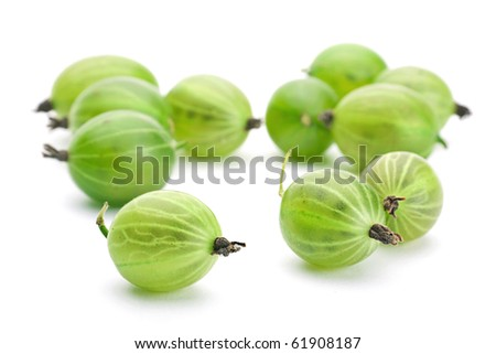 Green gooseberry fruit closeup isolated on white background