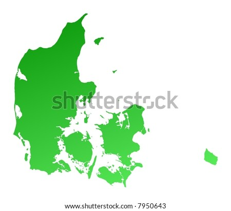 Green gradient Denmark map. Detailed, Mercator projection. - stock photo