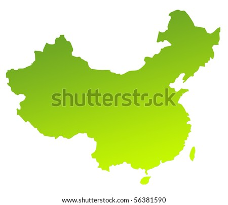 Green gradient map of China isolated on a white background. - stock photo
