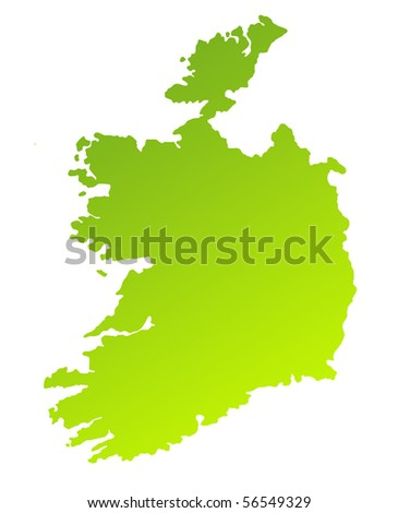 Green gradient map of Ireland isolated on a white background.