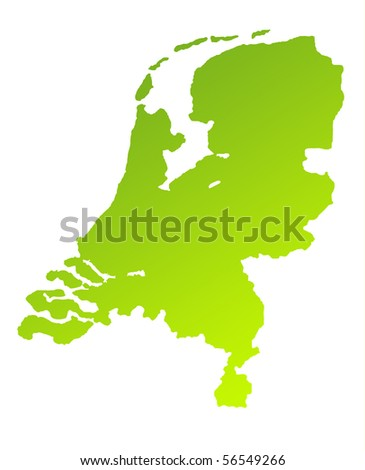 Green gradient map of Netherlands isolated on a white background.