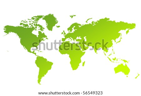 Green gradient map of World or Planet Earth isolated on a white background.