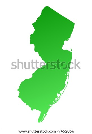 detailed map of usa with states and. stock photo : Green gradient New Jersey map, USA. Detailed