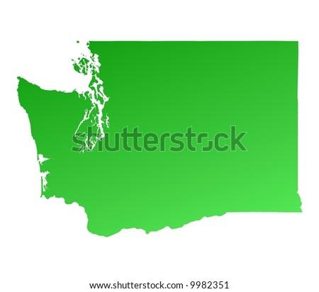 Green gradient Washington map, USA. Detailed, Mercator projection.