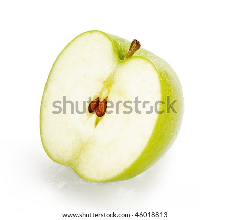 Green Granny Smith Apple Half with seeds isolated on white background with clipping path