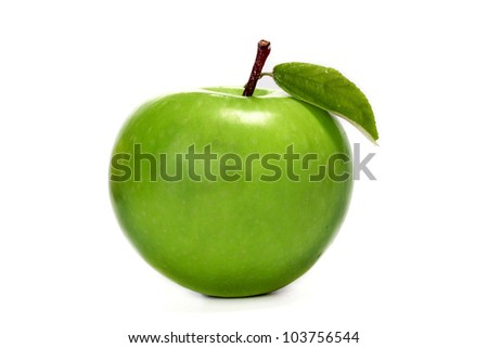 Green Granny Smith apple isolated on white