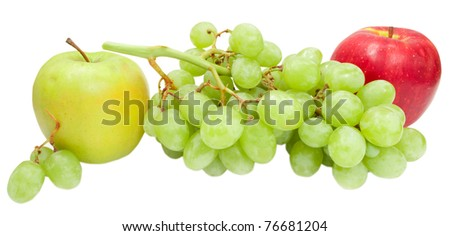 green grape and apples isolated on white background