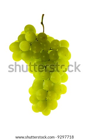 Green grape cluster on white background