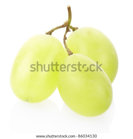 Green grape fruit isolated on white, clipping path included
