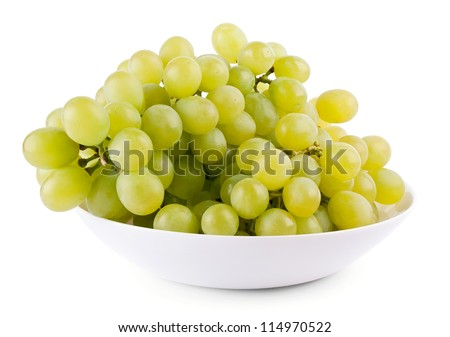 Green grape on plate on white background