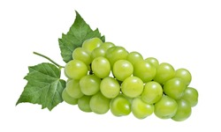 Green grape with leaves isolated on white. Shine Muscat Grape With clipping path.