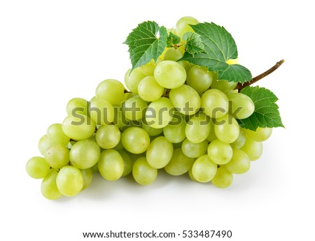 Green grape with leaves isolated on white. With clipping path. Full depth of field. #533487490