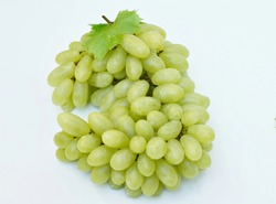 Green grapes Large bunch of fresh fruits with green leaves White background