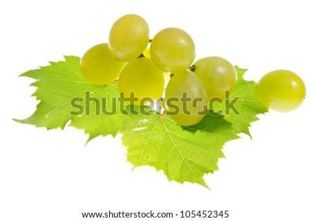 Green grapes on  isolated