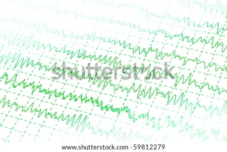 green graph brain wave EEG isolated on white background