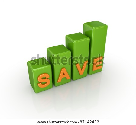 Green graph with a word SAVE.Isolated on white background. 3d rendered.
