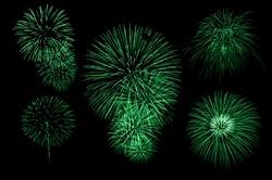 green graphic firework set